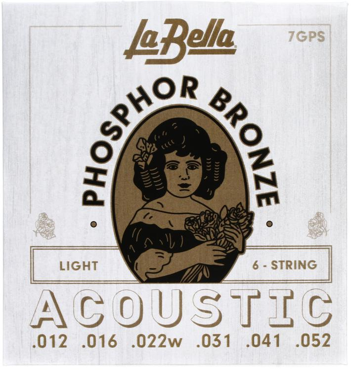 La Bella 7GPS Phosphor Bronze Acoustic Guitar Strings - Light image 1