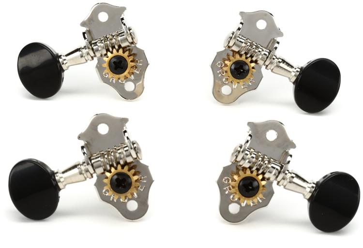 Grover 9NB Sta-Tite Ukulele Tuners - Nickel w/Black Buttons image 1