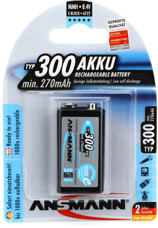 Ansmann 9V 300mah Rechargeable Battery | Sweetwater