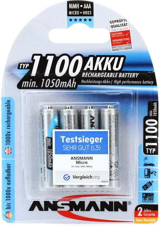 Ansmann 1100 mah AAA Rechargeable Battery 4-pk image 1