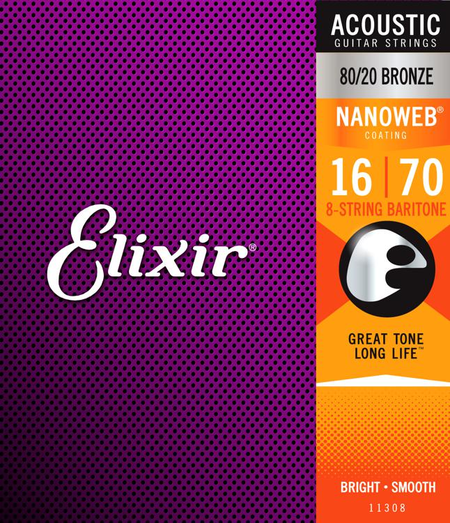 Elixir Strings Nanoweb 80/20 8-String Baritone Guitar Strings image 1