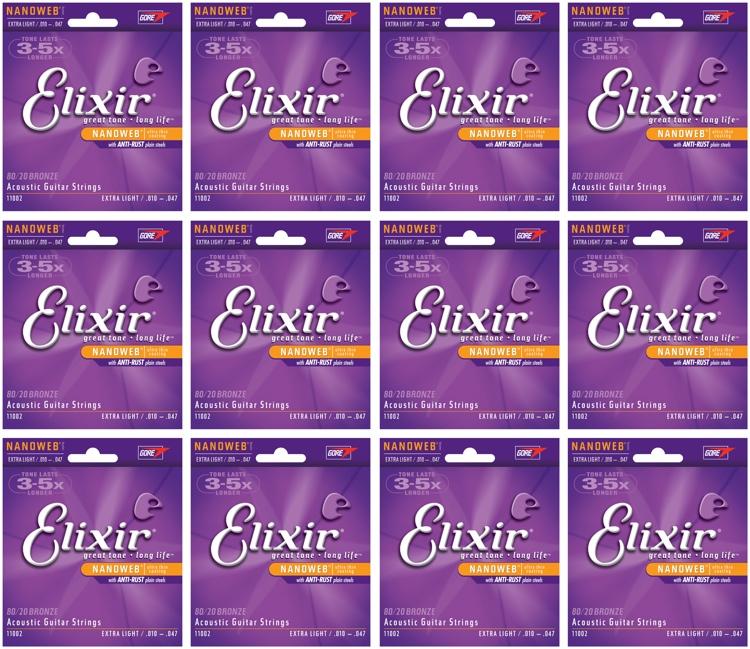 Elixir Strings 11002 Nanoweb 80/20 Bronze Extra Light Acoustic Guitar Strings 12-Pack image 1
