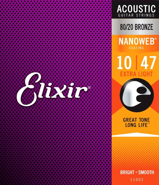 Elixir Strings Nanoweb 80/20 Acoustic Guitar Strings .010-.047 Extra Light image 1