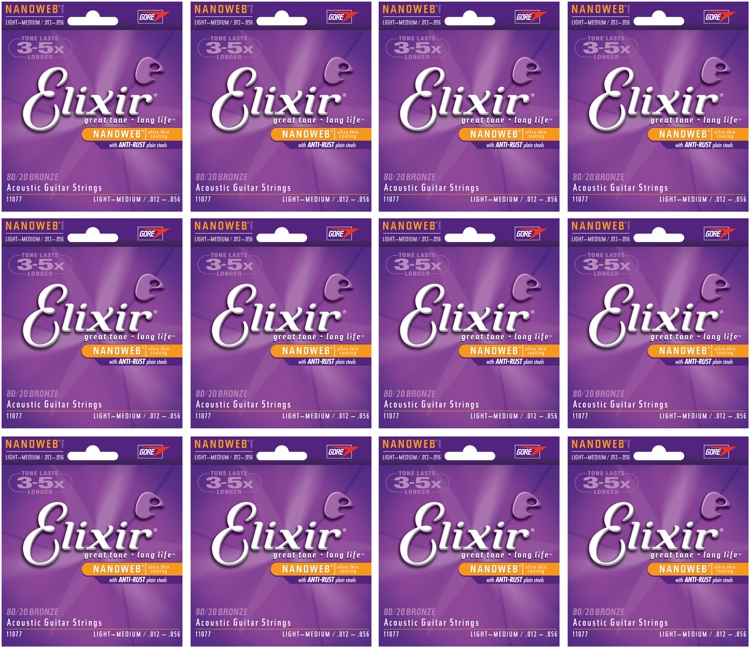 Elixir Strings 11077 Nanoweb 80/20 Bronze Light-Medium Acoustic Guitar Strings 12-Pack image 1