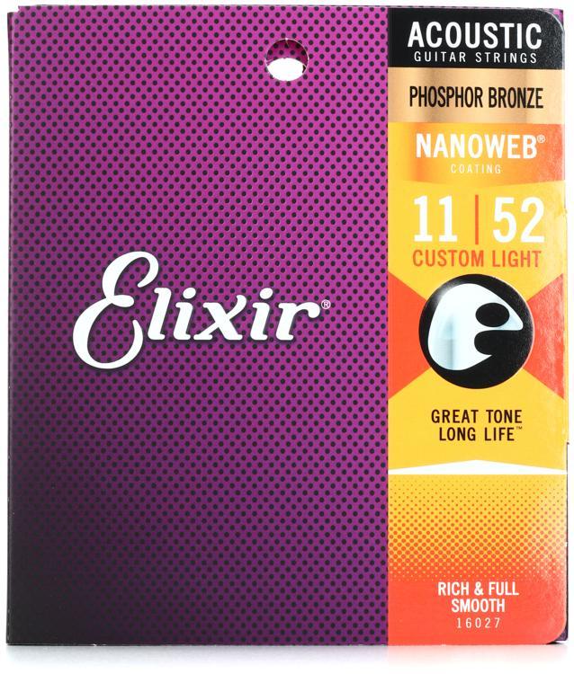 Elixir Strings Nanoweb Phosphor Bronze Acoustic Guitar Strings .011-.052 Custom Light image 1