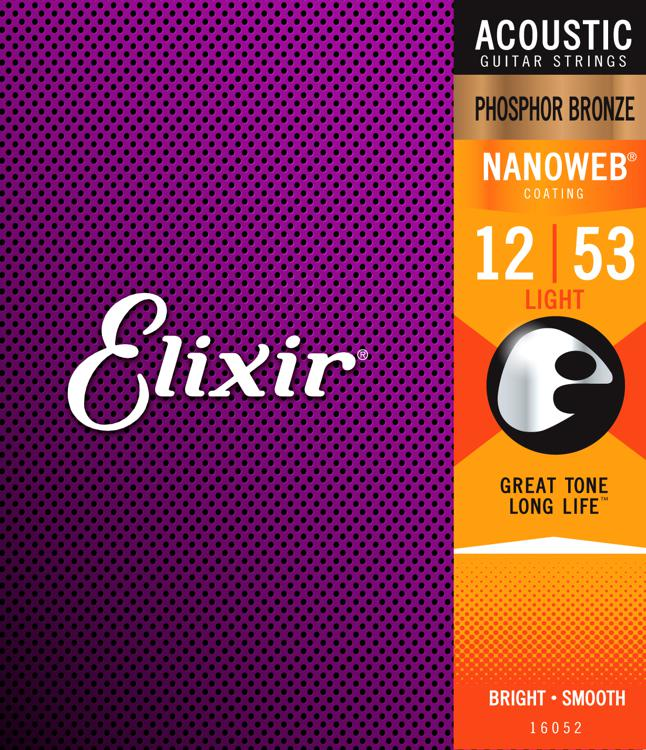Elixir Strings Nanoweb Phosphor Bronze Acoustic Guitar Strings .012-.053 Light image 1