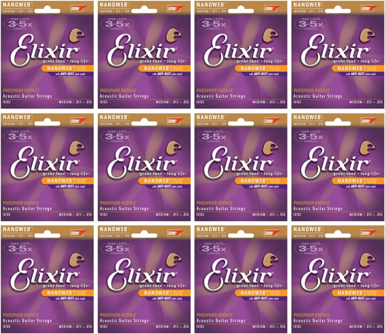 Elixir Strings 16102 Nanoweb Phosphor Bronze Medium Acoustic Strings 12-Pack image 1
