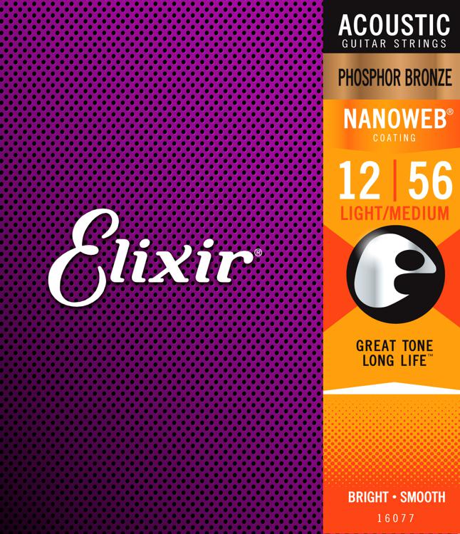 Elixir Strings Nanoweb Phosphor Bronze Acoustic Guitar Strings .012-.056 Medium Light image 1