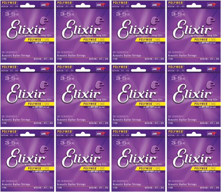 Elixir Strings 11000 Polyweb 80/20 Bronze Extra Light Acoustic Guitar Strings 12-Pack image 1