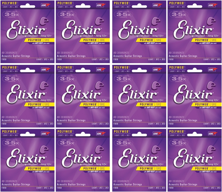 Elixir Strings 11050 Polyweb 80/20 Bronze Light Acoustic Guitar Strings 12-Pack image 1