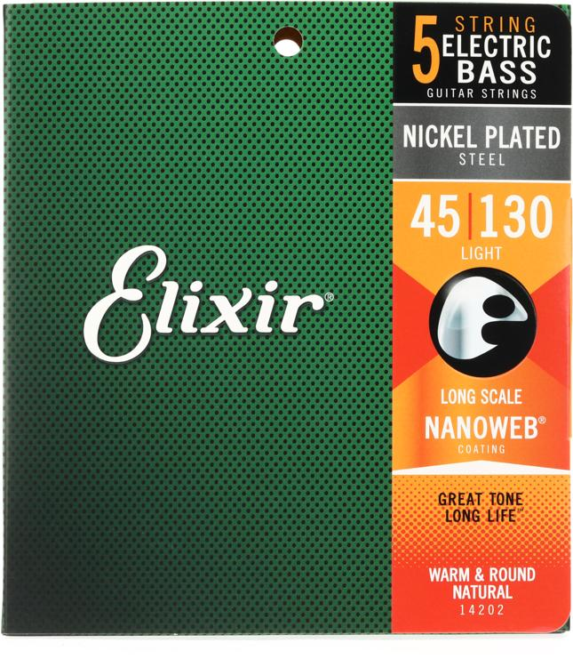 Elixir Strings 14202 Nanoweb Light Long Scale 5-String Electric Bass Strings image 1