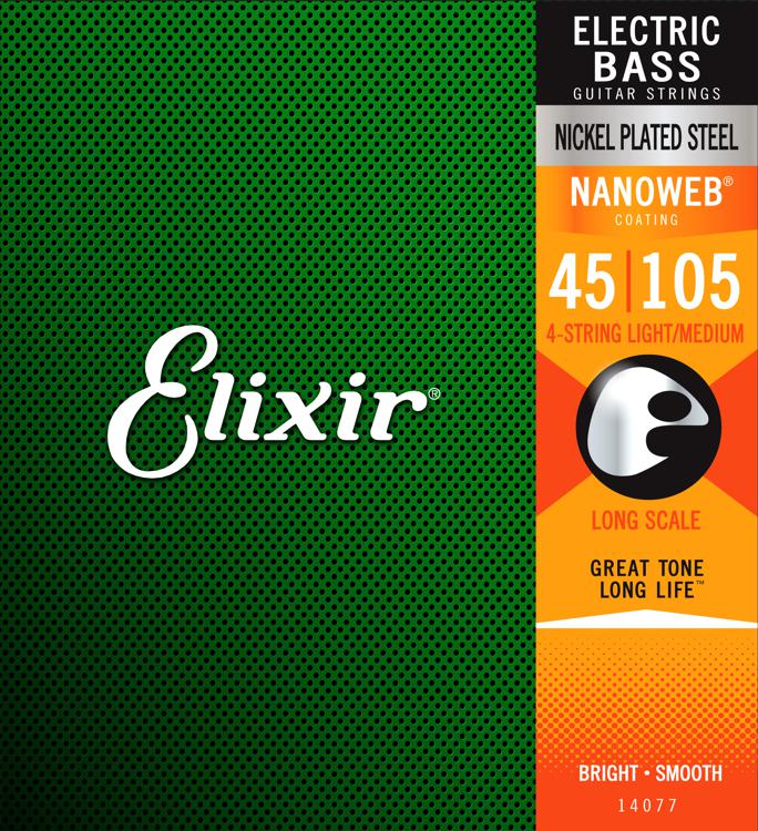 Elixir Strings 14077 Nanoweb Light/Medium, Long Scale Electric Bass Strings image 1