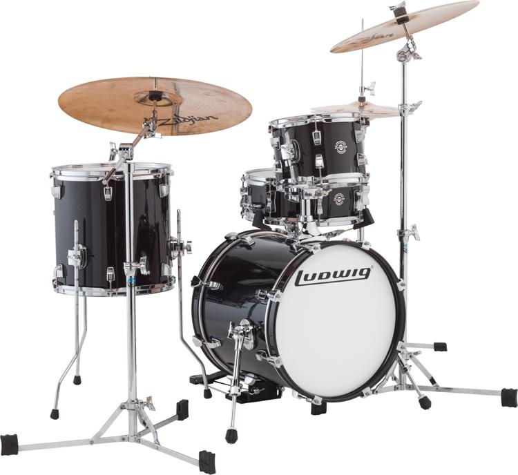 ludwig breakbeats by questlove 4 piece shell pack with snare drum black gold sparkle sweetwater. Black Bedroom Furniture Sets. Home Design Ideas