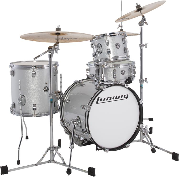 ludwig breakbeats by questlove 4 piece shell pack with snare drum white sparkle sweetwater. Black Bedroom Furniture Sets. Home Design Ideas