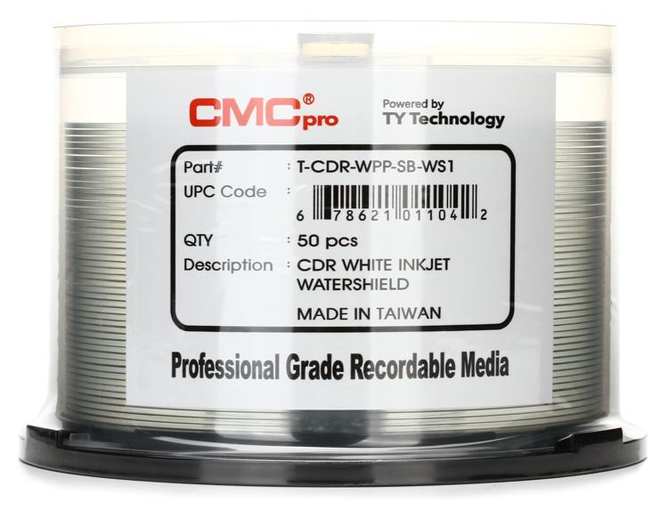 CMC Pro WaterShield White Water Resistant Inkjet Printable CD-R, 50pk Spindle image 1