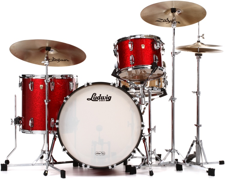 Ludwig Classic Maple Fab 22 Shell Pack - Red Sparkle image 1