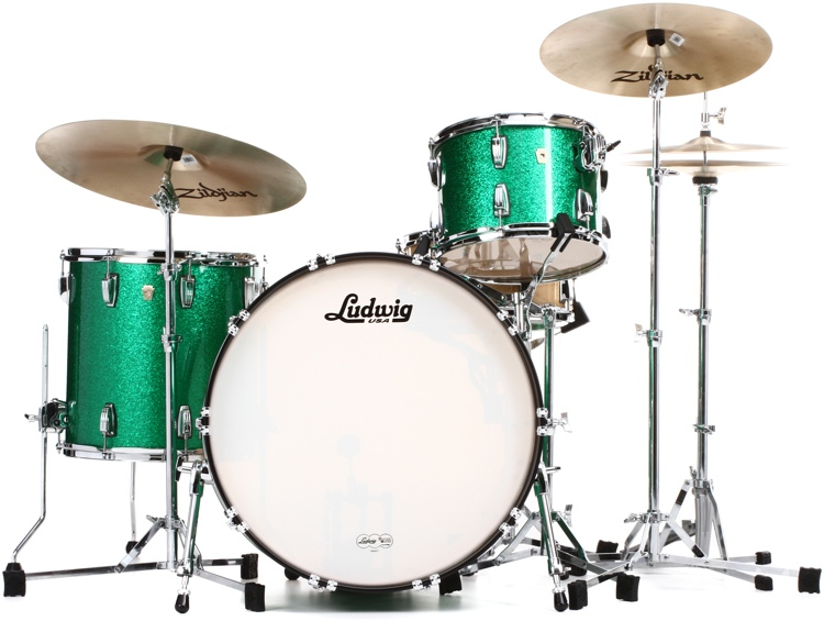 Ludwig Classic Maple Pro Beat 24 Shell Pack - Green Sparkle image 1