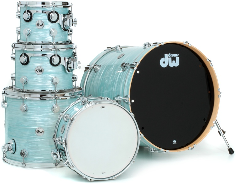 DW Collector\'s Series Finish Ply 5-Piece Shell Pack - Pale Blue Oyster with Chrome Hardware image 1