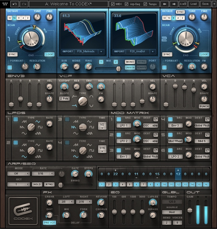 4. Waves Codex Wavetable Synthesizer ($10.00 Price Drop)
