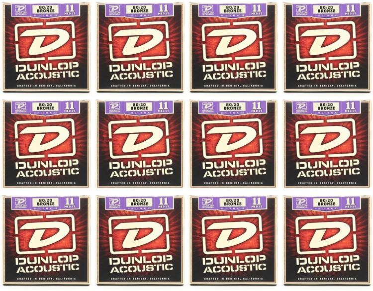 Dunlop DAB1152 80/20 Bronze Medium Light Acoustic Strings 12 Pack image 1