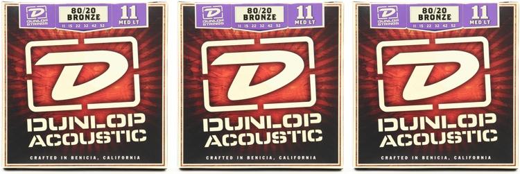 Dunlop DAB1152 80/20 Bronze Medium Light Acoustic Strings 3 Pack image 1