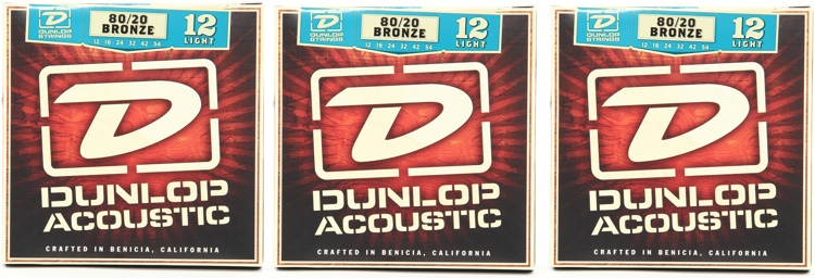 Dunlop DAB1254 80/20 Bronze Light Acoustic Strings 3 Pack image 1