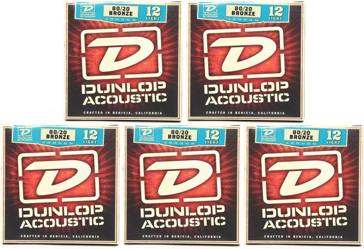 Dunlop DAB1254 80/20 Bronze Light Acoustic Strings 5 Pack image 1