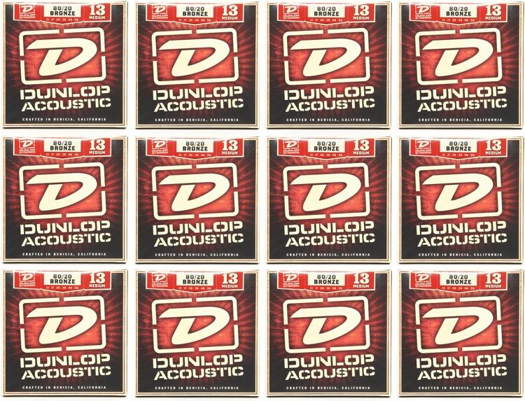 Dunlop DAB1356 80/20 Bronze Medium Acoustic Strings 12 Pack image 1