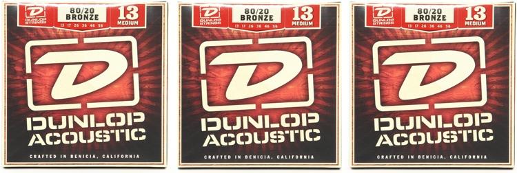 Dunlop DAB1356 80/20 Bronze Medium Acoustic Strings 3 Pack image 1