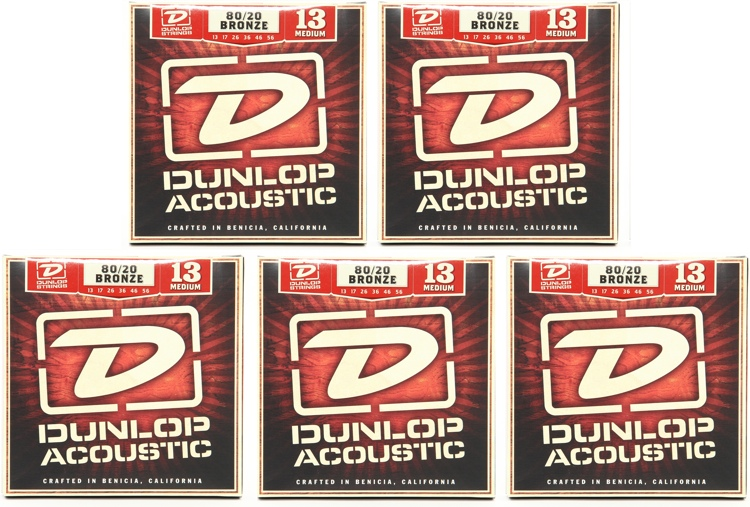 Dunlop DAB1356 80/20 Bronze Medium Acoustic Strings 5 Pack image 1