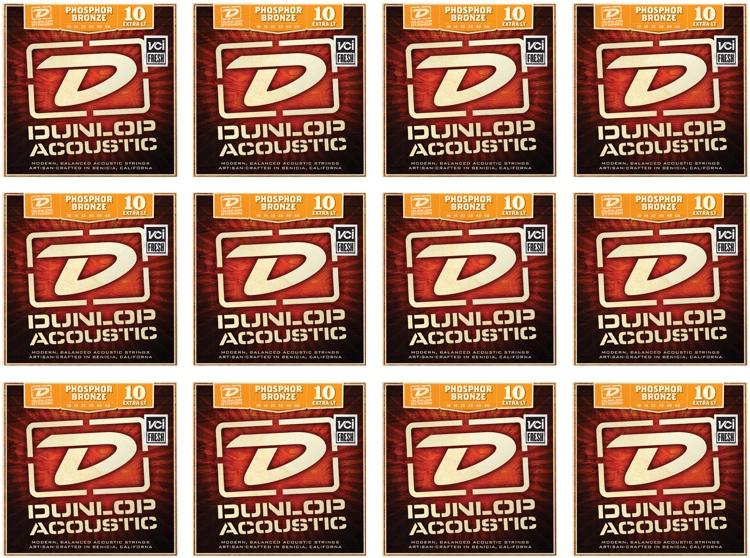 Dunlop DAP1048 Phosphore Bronze Extra Light Acoustic Strings 12 Pack image 1