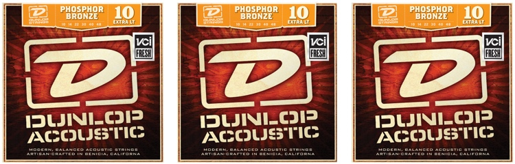 Dunlop DAP1048 Phosphore Bronze Extra Light Acoustic Strings 3 Pack image 1