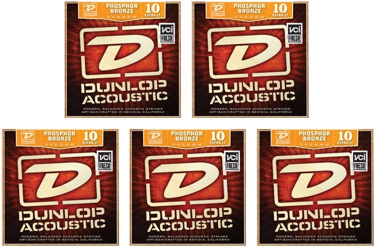 Dunlop DAP1048 Phosphore Bronze Extra Light Acoustic Strings 5 Pack image 1