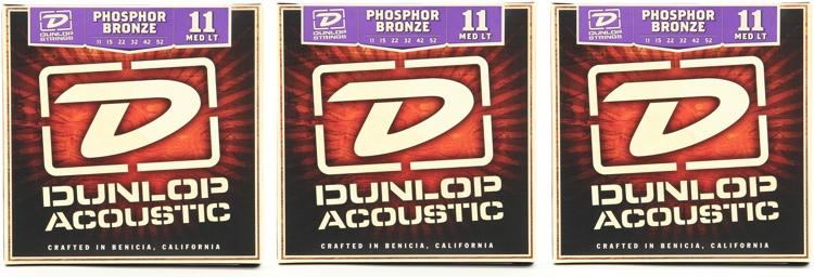 Dunlop DAP1152 Phosphore Bronze Medium Light Acoustic Strings 3 Pack image 1