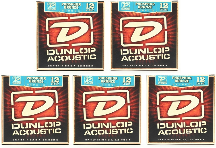 Dunlop DAP1254 Phosphore Bronze Light Acoustic Strings 5 Pack image 1