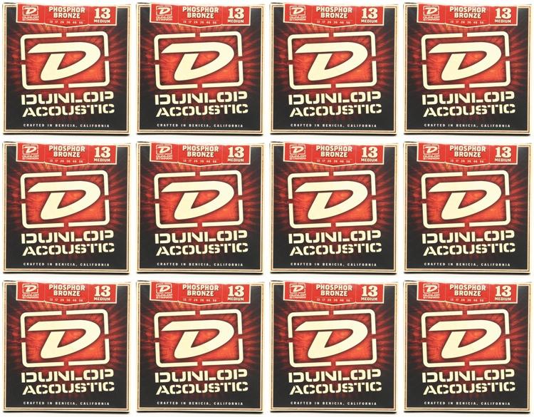 Dunlop DAP1356 Phosphore Bronze Medium Acoustic Strings 12 Pack image 1