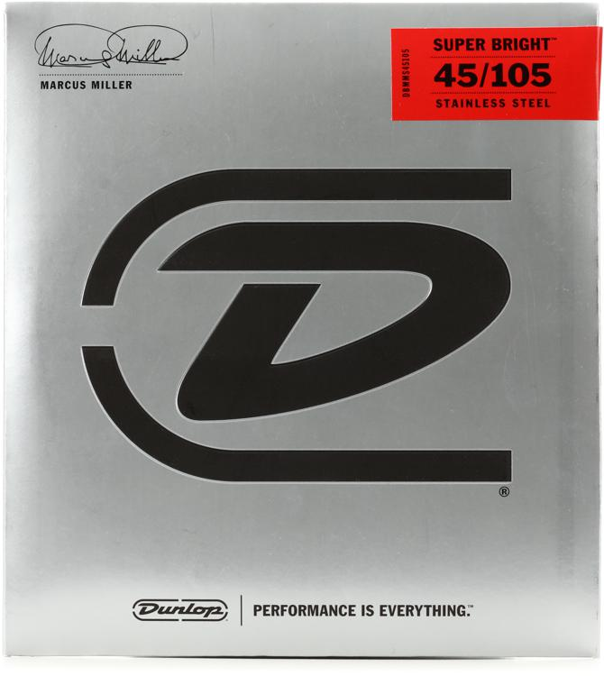 Dunlop DBMMS45105 Marcus Miller Super Bright Bass Strings - 4 String Set image 1