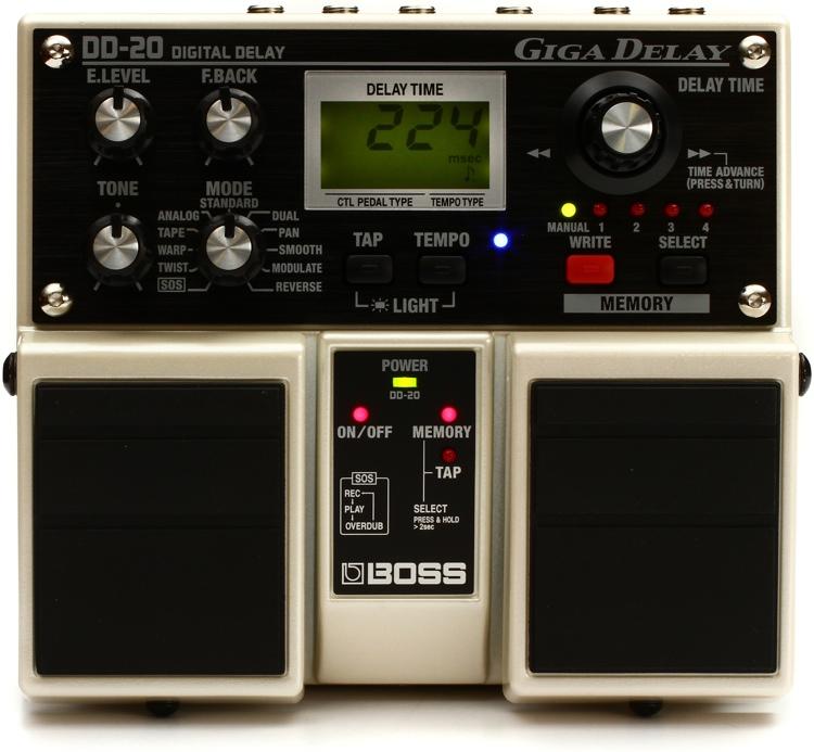 boss dd 20 giga delay digital delay pedal sweetwater. Black Bedroom Furniture Sets. Home Design Ideas