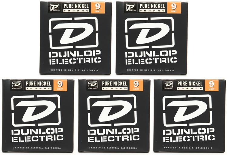 Dunlop DEK0942 Pure Nickel Electric Strings - .009-.042 Light 5-Pack image 1