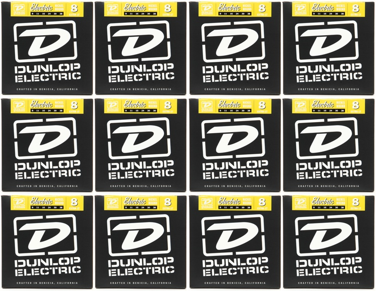 Dunlop DEN0838 Nickel Plated Steel Extra Light Electric Strings 12 Pack image 1