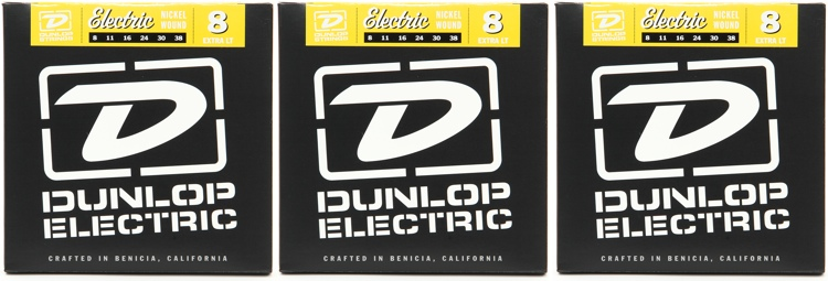 Dunlop DEN0838 Nickel Plated Steel Extra Light Electric Strings 3 Pack image 1