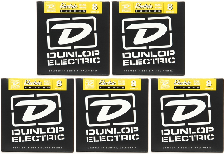Dunlop DEN0838 Nickel Plated Steel Extra Light Electric Strings 5 Pack image 1
