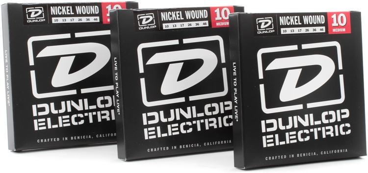 Dunlop DEN1046 Nickel Plated Steel Medium Electric Strings 3 Pack image 1