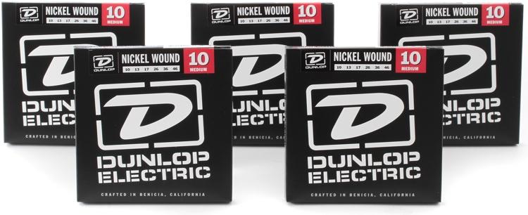 Dunlop DEN1046 Nickel Plated Steel Medium Electric Strings 5 Pack image 1
