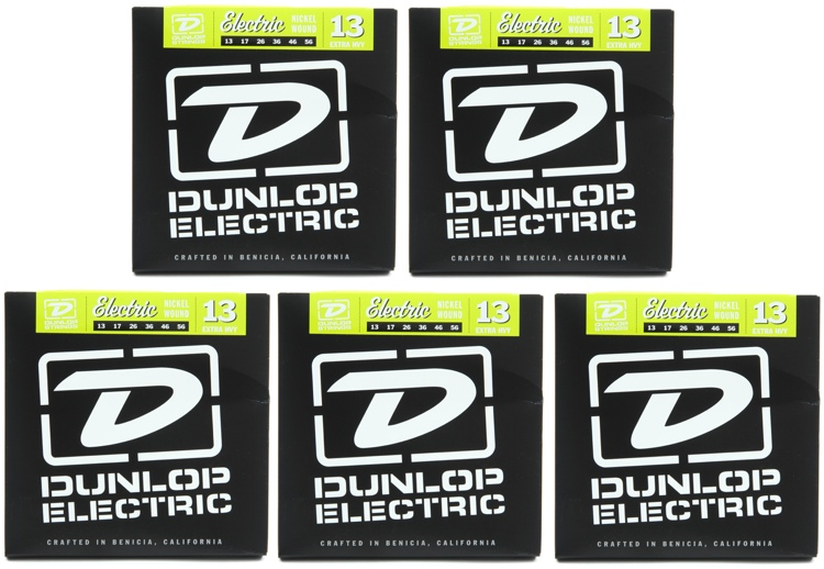 Dunlop DEN1356 Nickel Plated Steel Electric Strings - .013-.056 Extra Heavy 5-Pack image 1