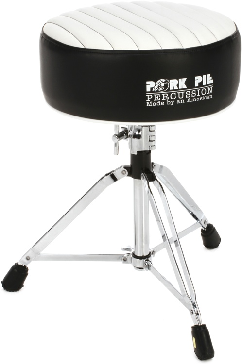 Pork Pie Percussion Deuce Series Round Drum Throne - Black with White Tuck and Roll image 1