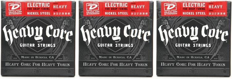 Dunlop DHCN1048 Heavy Core NPS Electric Strings - .010-.048 - 3 Pack image 1