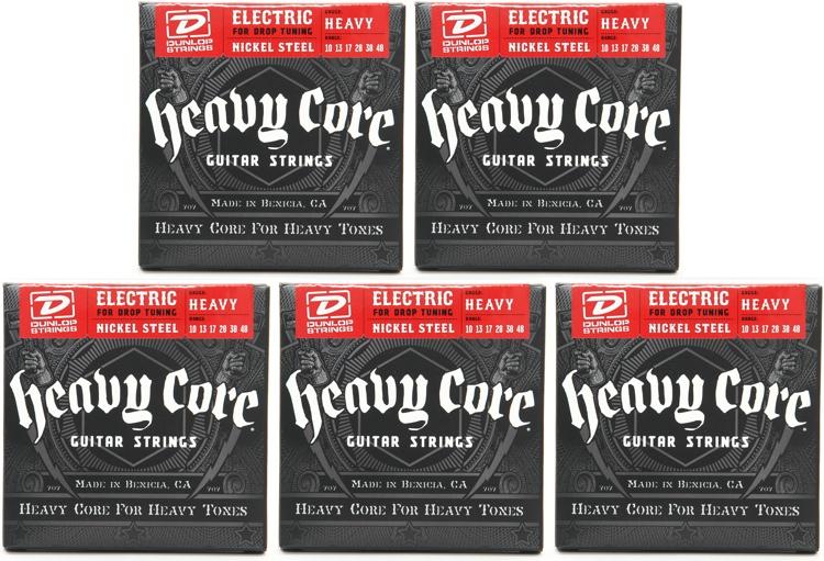 Dunlop DHCN1048 Heavy Core NPS Electric Strings - .010-.048 - 5 Pack image 1
