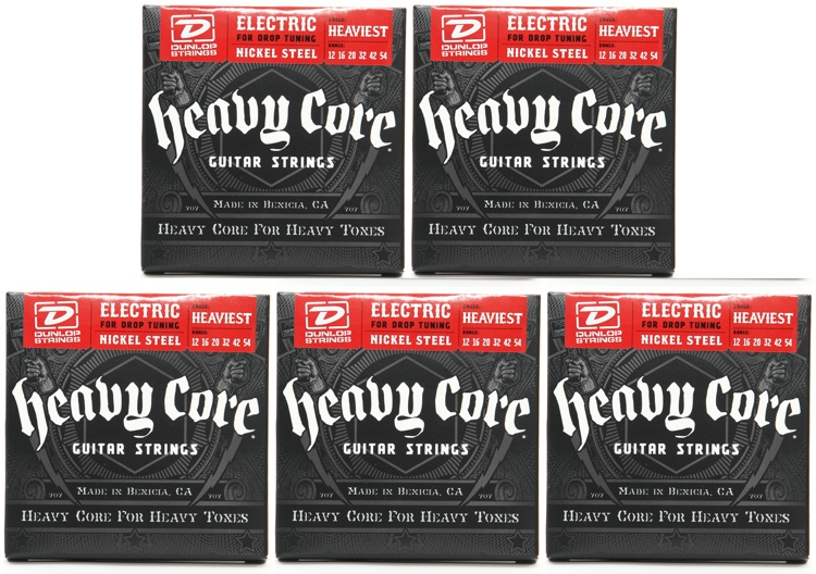 Dunlop DHCN1254 Heavy Core NPS Electric Strings - .012-.054 - 5 Pack image 1