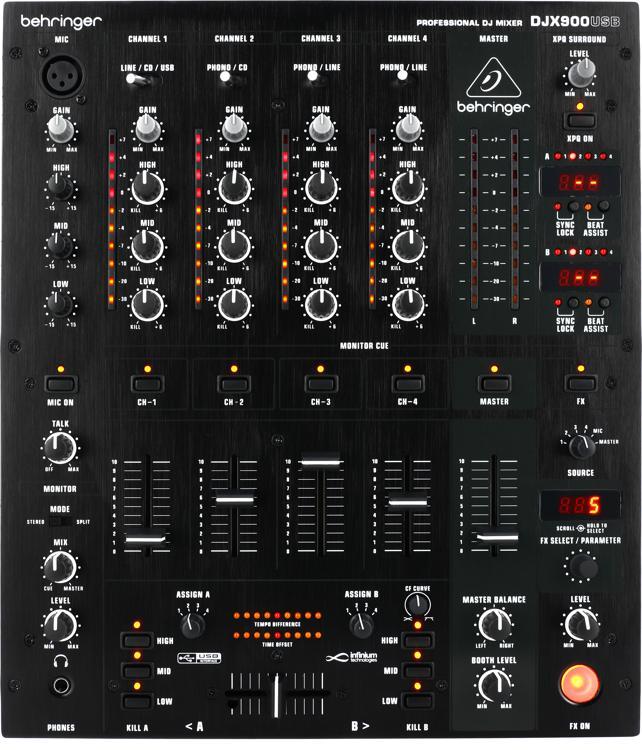behringer pro mixer djx900usb 4 channel dj mixer sweetwater. Black Bedroom Furniture Sets. Home Design Ideas